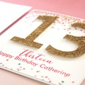 Any Age Birthday Card, Personalised, Confetti and Glitter, Custom Made