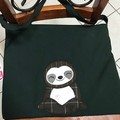 Sloth machine embroidery shoulder shopping bag or library bag