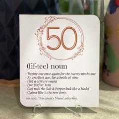 Personalised Milestone Birthday Definition Card - Fiftieth- Kalghi Crafts Co