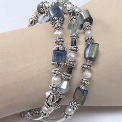 Blue Coral Pearl  Crystal Silver Plated Bead Bracelet Unique Jewellery Handmade