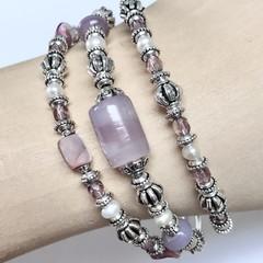 Pearl Crystal Silver Plated Bead Bracelet  OOAK Unique Jewellery Handmade