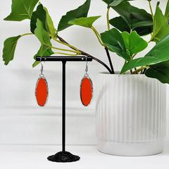 Handcrafted Glass Earrings // Orange Oval