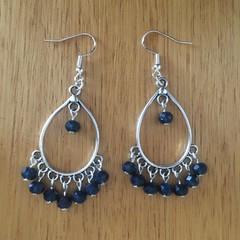 Boho navy blue beaded teardrop earrings