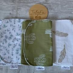 Burp cloth, set 3, eucalyptus, cactus, baby boy gift, baby shower.