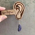 Purple Stripe Heart Dangles | Heart-shaped earrings | Dangle Earrings