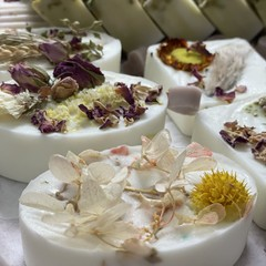 Handmade Pure Goats Milk Soap with Freesia and topped with natural dried flowers