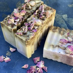 Handmade Rose & Goats Milk Soap with Brazilian Purple Clay, Sandalwood & Rosehip