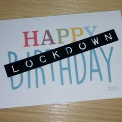 Happy lockdown birthday card - blue