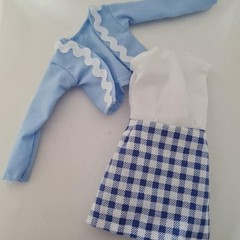 Barbie doll clothes - blue and white dress and light blue jacket set