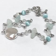 Aquamarine & Crystal Stainless Steel Bracelet Jewellery OOAK Unique Handmade