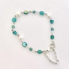 Pearl Crystal Czech Glass Silver Plated Bracelet Jewellery OOAK Unique Handmade