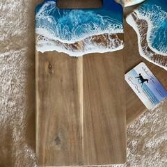 Rich Blue & Aqua Ocean Resin | Personalised Serving Board | Cheese Board |