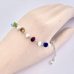 Pearl Vintage Czech Glass Silver Plated Bracelet Jewellery OOAK Unique Handmade