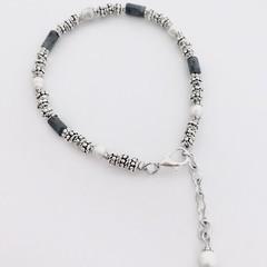 Blue Coral & Pearl Silver Plated Bracelet Jewellery OOAK Unique Handmade