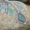 Bezel Set Sterling Silver and Sea Glass Pendant - Droplet