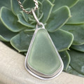 Bezel Set Sterling Silver and Sea Glass Pendant - Diamond