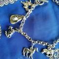 Horses, I love Horses, 9 silver tone charms , horseshoe, hat, variety of horses