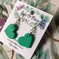 Green Heart Dangles | Heart-shaped earrings | Dangle Earrings