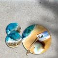 Translucent Turquoise | Cheese Board Set | Personalised | Coaster Set