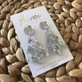 Recycled Silver Glitter Christmas Tree Dangle Earrings | Eco