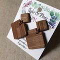Square Dangle Earrings | Faux Timber Earrings | Wood-Effect Earrings
