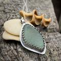Bezel Set Sterling Silver and Sea Glass Pendant - Fancy Leaf