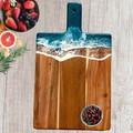 Dark Turquoise Ocean Resin   Personalised Serving Board   Cheese Board  