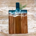 Dark Turquoise Ocean Resin | Personalised Serving Board | Cheese Board |