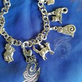 Cat charm bracelet, I love Cats, 9 charms, silver toned chain