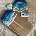 Rich Blue & Aqua Ocean Resin   Personalised Serving Board   Cheese Board  