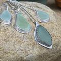 Bezel Set Sterling Silver and Sea Glass Pendant - Teardrop
