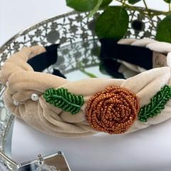 Flower Beads Braided Headband