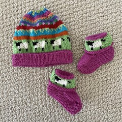 Pink sheep beanie and Matching Booties - up to 4 months - Hand knitted