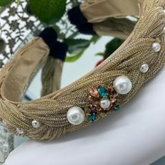 Minimalist Pearls  Lurex Braided Headband
