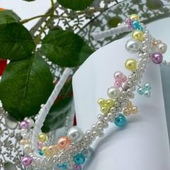 Garden Pearls  wire metal headband