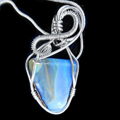 Boulder Opal  Sterling silver wire wrapped pendant