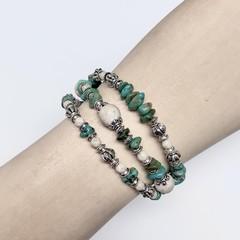 Turquoise &  Silver Plated Bead Bracelet  OOAK Unique Jewellery Handmade