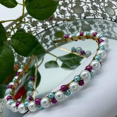 Pearls wire metal headband