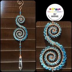 Double Swirl Copper & Glass Suncatchers (various colours)