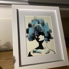 Original HAND PAINTED Gloomy Lady Framed Artwork