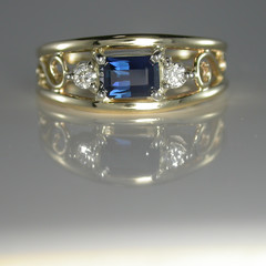 14ct Solid Yellow Gold Blue Sapphire and Diamond Ring