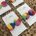Recycled Rainbow Print Stud Earrings | Mother's Day | Gorman | Abstract