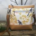 Jasmine Crossbody Bag - Mustard Gum blossom/Birds/Mustard Faux Leather