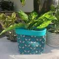 Teal pine tree BrightPot / Fabric basket/planter Medium