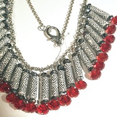Necklace. Handcrafted Paper bead, swarovski crystal necklace in black/white/red