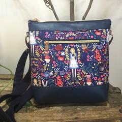 Jasmine Crossbody Bag - Alice in Wonderland/Navy Faux Leather