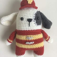 Fireman Puppy  -  crocheted softies
