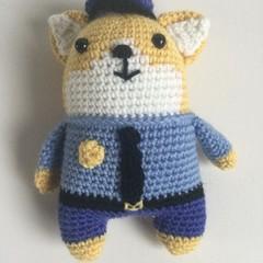 Police Cat  -  crocheted softies