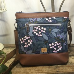 Jasmine Crossbody Bag - Blueberries/Tan Faux Leather
