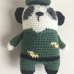 Army Panda  -  crocheted softies